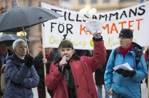 Karin Gustafsson, Elisabet Finné och Paul Eriksson från föreningen Klimataktion Sundsvall.