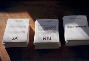 Så här såg röstsedlarna ut vid en annan folkomröstning, den om EU-medlemskap.