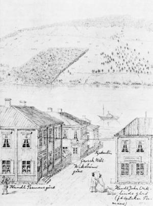 Som ung ritade han det här panoramat över Stortorgets nedre del. Lägg märke till att han också plitade dit vilka som bor i olika lägenheteter eller huserar i butikslokaerna.
