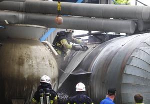 Tankens isolering fattade eld.