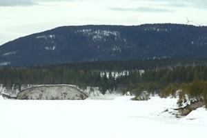 Stora jordmassor har rasat i de branta slänterna runt sjön Halvfari. Fortum, som håller på att bygga om dammen, säger att skadorna ska åtgärdas.Foto: Håkan Persson