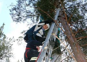 Sista biten ned till marken blev via en stege för Erik Skyttberg, Sundsvall.