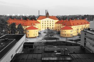 Bilden togs från nya lasarettets 8:e våning. Färgbild, omgjord till svartvit och sedan endast byggnaden återigen i färg.