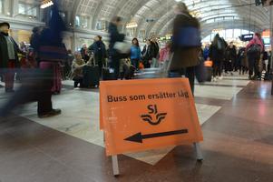 Buss istället för tåg, alltför vanligt.