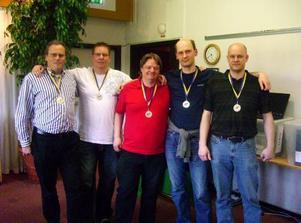 Silvermedaljörer från förra veckans SM Lag: Från vänster: Frederic Wrang, Nichlas Eliazohn, Morgan Svensson, Thomas Karlsson och  Bo Sundell.