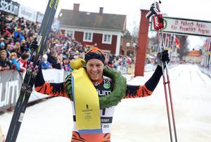 Petter Eliassen efter segern i Mora 2015.