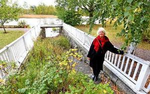Inger Berglund är trädgårdsarkitekt och har lagt fram förslag hur trädgård och den lilla kanalen in till fastigheten skall rustas upp. Foto: Johnny Fredborg
