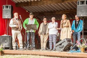 Författartätt i Linsell. Från vänster: Björn Törnvall, Torbjörn Ohlsson, Mats Edblad, Ann-Marie Wikander, Elin Olofsson och Micael Lindberg.