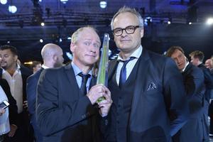 Johan Rheborg och Robert Gustafsson på Kristallen 2015 där de vann pris för årets program med