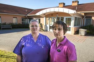 Alexandra Remes och Kicki Berggren jobbar båda som undersköterskor på Tunastrands äldreboende.