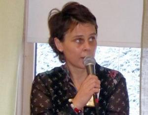 Maria Hårdstedt, läkare och forskare vid kardiologen Falu lasarett, informerade om sitt projekt med inriktning mot  kliniska studier om tromboser, stroke och hjärtinfarkt. Foto: Karin Jacobson.