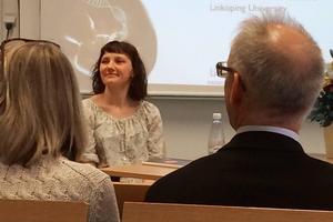Ann-Christin Stenqvist under fredagens disputation i Umeå där hon försvarade sin doktorsavhandling.