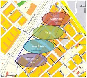 Kupolen lockar i dag 5,5 miljoner besökare per år. Ikea- och Ikano-området räknar med ytterligare 2-3 miljoner. En del av dessa ska också lockas till centrum. Ett sätt att göra det är genom att dela upp stadskärnan i utbudsområden, enligt Pernilla Karvias och Jimmie Halls förslag.