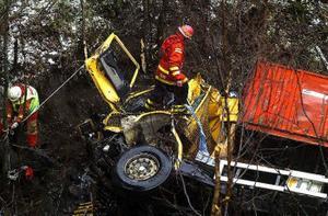 Lastbilen forcerade brons skyddräcke och körde rakt ner i Mjällån.