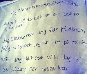 En lapp Stina skrev till sig själv vid 9 års ålder