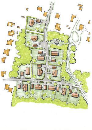 Så här är det tänkt att det nya bostadsområdet i östra Storhagen ska se ut.