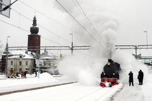 Trotjänare.  Nynäshamns järnvägsmuseums ånglok har inte varit i bruk i vinter.