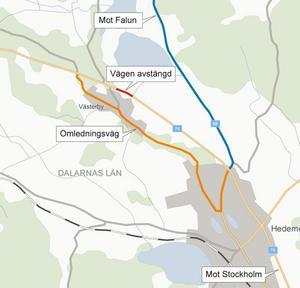 Trafiken kommer att omdirigeras via Västerby, men den är smal och det finns en skola efter vägen. Ska ni resa mot Mora och Sälen, ta väg 69 via Falun, uppmanar Trafikverket.