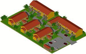 K-fastigheter ska bygga 18 hyreslägenheter enligt skissen ovan. 15 treor och 3 fyror blir det. Första spadtaget tas nästa vecka. Bild: K-fastigheter