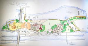 Så här kan Slussholmen se ut i framtiden om Liberalerna får bestämma. I nederkant ses kanalen med slussen och den blå randen som slingrar sig fram närmast den är blå stenplattor i underlaget för att förstärka kopplingen till vatten. Här ses ett nytt badhus och en fyr till vänster, därefter biografen och amfiteatern med de grön-röda läktarna som ska påminna om ett sjömärke. I mitten ses