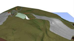 Alternativ 2. Gustavsbergsbacken till höger i bild.