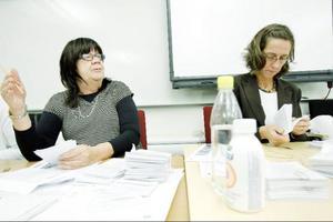 Eva Ekendahl och Ylva Lindén är två av fyra personer i en kontrollgrupp som bland annat gör stickprovskontroller vad gäller personrösterna.