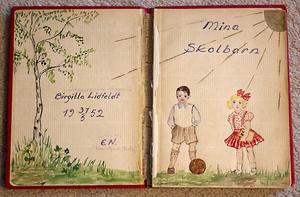 Boken fick Birgitta som examenspresent. Här finns alla hennes forna elevers namn.