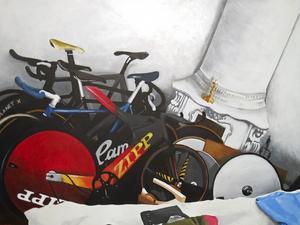 Målat med foton från cykelforum som inspiration.