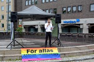 Erik Nordlund, SSU talade om vikten av att skapa trygg rum för hbtq-personer.