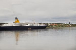 Vid åttatiden på torsdagsmorgonen ankrade kryssningsfartyget Quest for Adventure upp i Reffelmansviken i Hudiksvall.