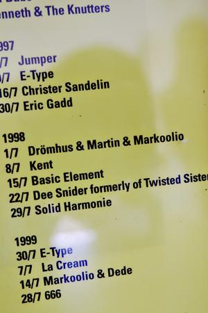 I idrottsklubbens stuga finns en gul tavla som summerar alla de artister som uppträtt på Gårdskärsnatta, en blandad skara med bland andraBosse Parnevik, Jerry Williams, Kent och E-type.