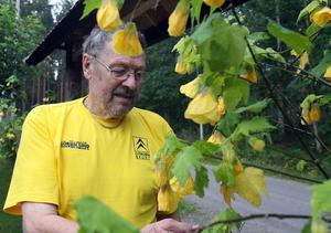 Många timmar tillbringar Nils Larssons i trädgården.