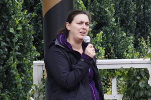 Frida Wigren (S) var en av dagens talare.