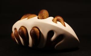 Vid jäsningen antar brödet oförutsägbara former vilket skapar intressant kontrast till porslinet, menar Cecilia Jansson.