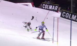 Själva tävlingen var inte det mest dramatiska under gårdagens slalom i Madonna di Campiglio. Foto: SVT