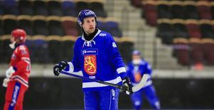 Ilari Moisala under Finlands gruppspelsmatch mot Ryssland i VM.