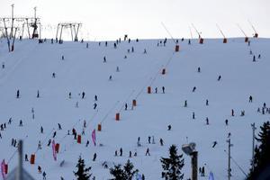 Gustavsbacken i Lindvallen lockar många skidåkare.