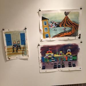 Originalillustrationer av Sara Lundberg på Ottilia Adelborg-museet.