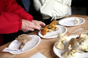 Genom att dela svampen kan man se om den är maskangripen.