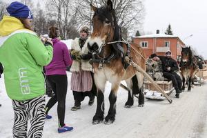 Stort intresse i Lillhärdal för forbönderna och deras hästar.