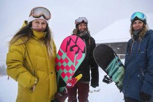 Snowboard förde dem samman. Marina Minetti, Karin Långström och Cecilia Schenk.