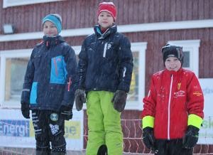 Efter lördagens sprinttävling för ungdomar fick Åke Grindborg, Sveg, Filip Ragnvaldsson, Tullus, och Markel Fundin, Sveg, kliva upp på pallen för de yngsta killarna.