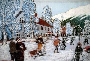 Batik från 1970-talet med motiv från Åre torg av Ann-Charlotte Hartman.