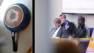 Dubbelmördaren Doudou Ahoka blev slagen med en stekpanna i huvudet. Bilden är tagen i samband med rättegången år 2014 då han biträddes av advokat Thomas Bodström.Livstidsdomen mot honom fastställdes av Högsta domstolen senare samma år.