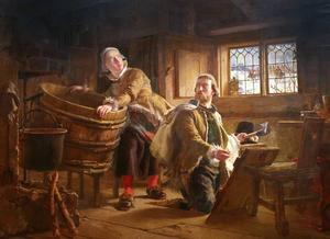 Johan Fredrik Höckerts målning från 1860 skildrar sägnen om Tomt-Margit som gömmer Gustav Vasa från de danska knektarna.