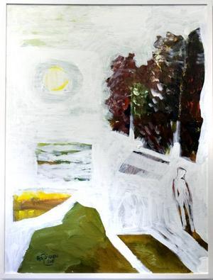Landskap I (liten vit man t h)