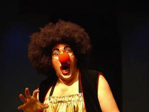 Operasångaren Joakim Berg, iklädd sitt clownjag Björn med den nasala rösten, spelar alla rollerna i Don Quijote i regi av Mario Gonzales.