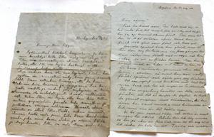 Till vänster syns brevet som Ellis mor skrev 1942, samt översättningen från finska till svenska gjord av Rädda Barnen.