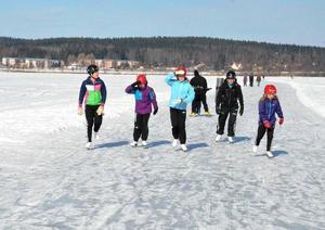 Ett gäng skridskoåkare på väg runt sjön. Det är Pernilla Nilsson tillsammans med döttrarna Tilde och Ella samt deras kompisar Agnes Sälgström och Rebecca Eriksson som tar sig fram i lagom fart.