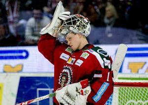 Lars Johansson, här i Frölundatröjan, spelar just nu i Chicago Blackhawks organisation Rockford Icehogs i AHL.
